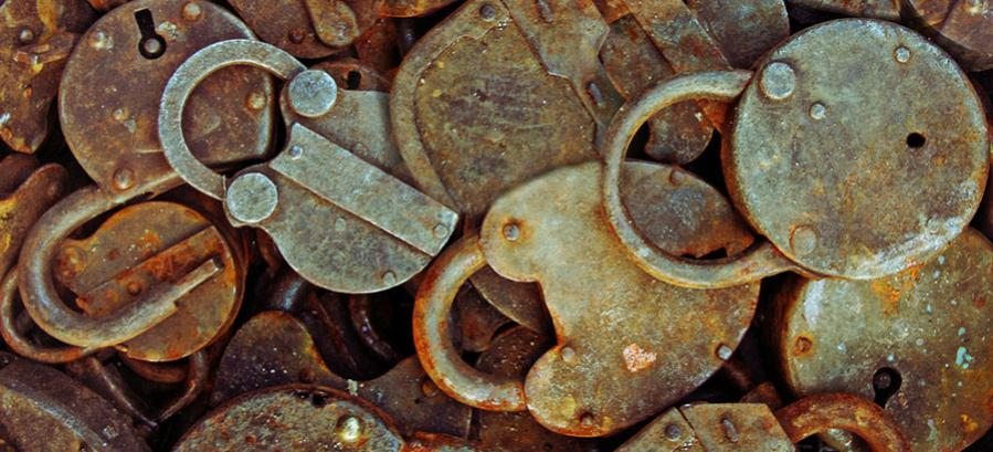 rusty old padlocks